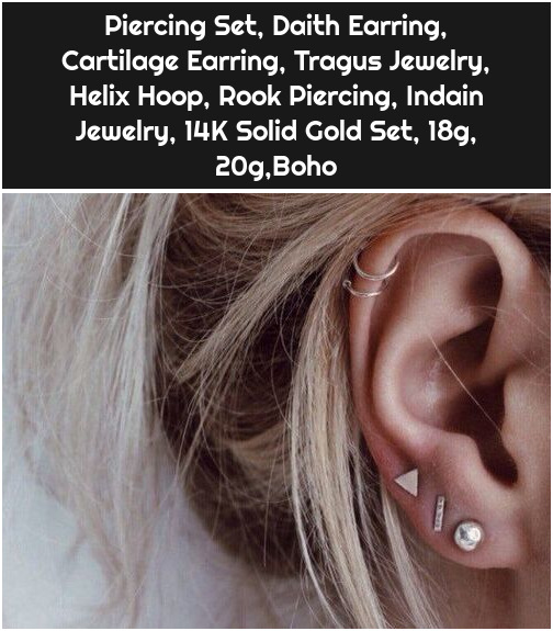 Piercing Set, Daith Earring, Cartilage Earring, Tragus Jewelry, Helix Hoop, Rook Piercing, Indain Jewelry, 14K Solid Gold Set, 18g, 20g,Boho