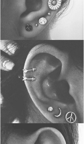 Delicate Multiple Ear Piercing Ideas for Women at MyBodiArt.com - Auricle Pinna ...