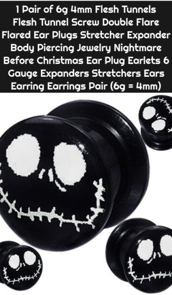 1 Pair of 6g 4mm Flesh Tunnels Flesh Tunnel Screw Double Flare Flared Ear Plugs Stretcher Expander Body Piercing Jewelry Nightmare Before Christmas Ear Plug Earlets 6 Gauge Expanders Stretchers Ears Earring Earrings Pair (6g = 4mm)