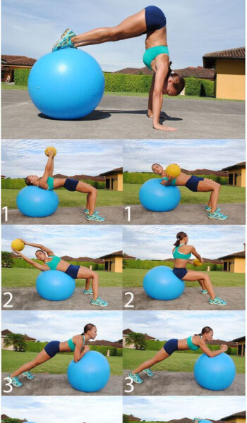 Swiss Ball Core Workout--I can totally see myself doing that handstand. #fitness...