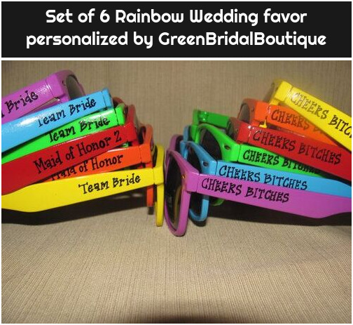 Set of 6 Rainbow Wedding favor personalized by GreenBridalBoutique
