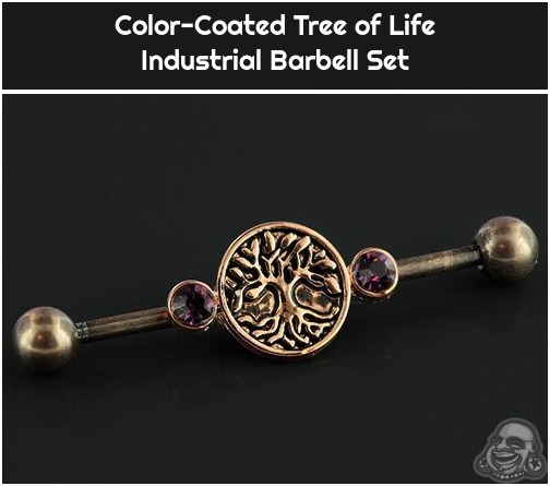 Color-Coated Tree of Life Industrial Barbell Set