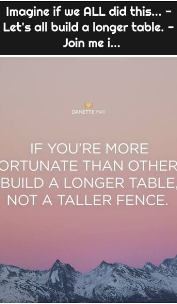 Imagine if we ALL did this... - Let's all build a longer table. - 💞 Join me i...