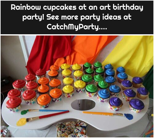 Rainbow cupcakes at an art birthday party! See more party ideas at CatchMyParty....